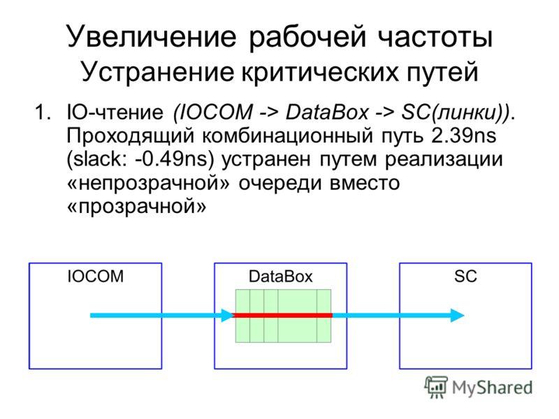 1.IO-чтение (IOCOM -> DataBox -> SC(линки)). Проходящий комбинационный путь 2.39ns (slack: -0.49ns) устранен путем реализации «непрозрачной» очереди вместо «прозрачной» Увеличение рабочей частоты Устранение критических путей