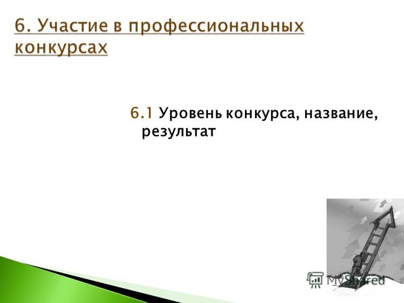 6.1 Уровень конкурса, название, результат