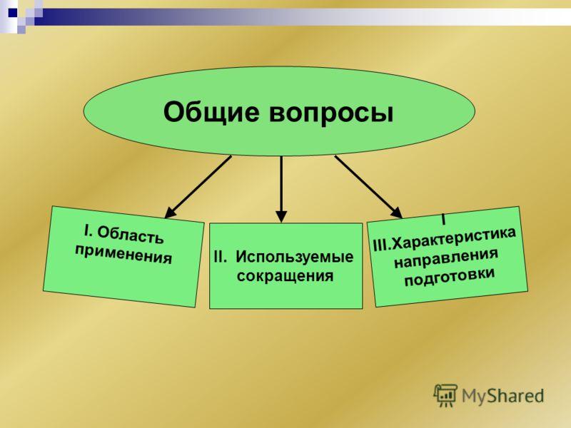 I. Область применения II. Используемые сокращения I III.Характеристика направления подготовки Общие вопросы