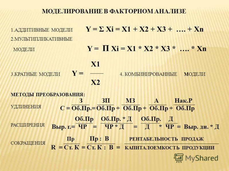 МОДЕЛИРОВАНИЕ В ФАКТОРНОМ АНАЛИЗЕ 1.АДДИТИВНЫЕ МОДЕЛИ Y = Σ Xi = X1 + X2 + X3 + …. + Xn 2.МУЛЬТИПЛИКАТИВНЫЕ МОДЕЛИ Y = П Xi = X1 * X2 * X3 * …. * Xn X1 3.КРАТНЫЕ МОДЕЛИ Y = 4. КОМБИНИРОВАННЫЕ МОДЕЛИ X2 МЕТОДЫ ПРЕОБРАЗОВАНИЯ: УДЛИНЕНИЯ РАСШИРЕНИЯ СОКР