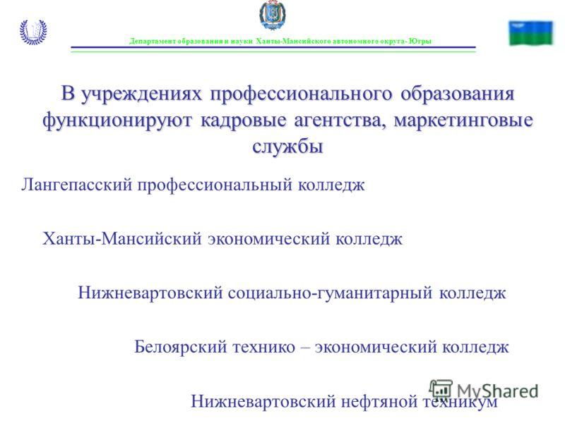 Департамент образования и науки Ханты-Мансийского автономного округа- Югры В учреждениях профессионального образования функционируют кадровые агентства, маркетинговые службы Лангепасский профессиональный колледж Ханты-Мансийский экономический колледж