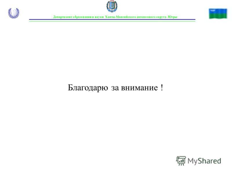 Благодарю за внимание ! Департамент образования и науки Ханты-Мансийского автономного округа- Югры