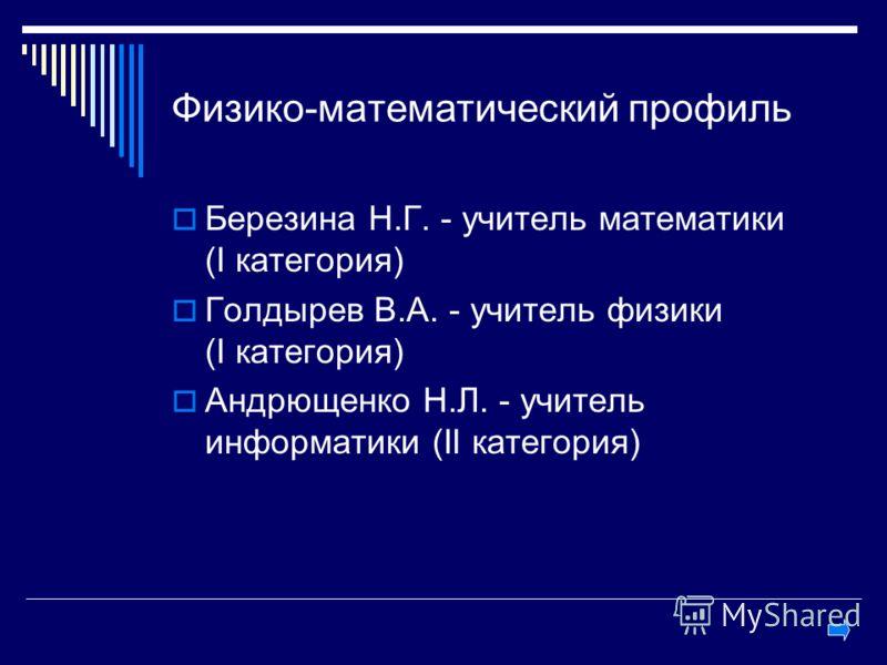 Физико-математический профиль Березина Н.Г. - учитель математики (I категория) Голдырев В.А. - учитель физики (I категория) Андрющенко Н.Л. - учитель информатики (II категория)