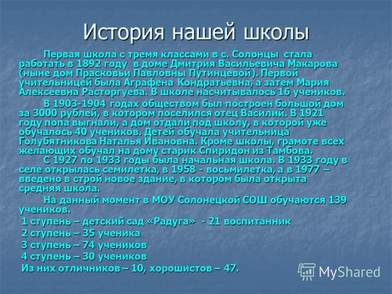 История нашей школы Первая школа с тремя классами в с. Солонцы стала работать в 1892 году в доме Дмитрия Васильевича Макарова (ныне дом Прасковьи Павловны Путинцевой). Первой учительницей была Аграфена Кондратьевна, а затем Мария Алексеевна Расторгуе