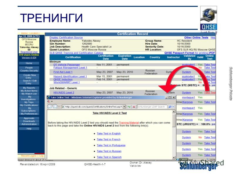 Owner: Dr. Alexey Yakovlev Schlumberger Private Revalidated on: 15 April 2009QHSE-Health-1-7 ТРЕНИНГИ