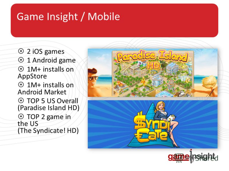 Game Insight / Mobile 2 iOS games 1 Android game 1M+ installs on AppStore 1M+ installs on Android Market TOP 5 US Overall (Paradise Island HD) TOP 2 game in the US (The Syndicate! HD)