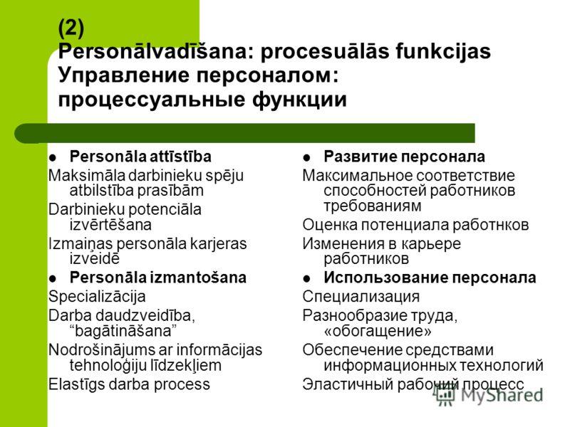 (2) Personālvadīšana: procesuālās funkcijas Управление персоналом: процессуальные функции Personāla attīstība Maksimāla darbinieku spēju atbilstība prasībām Darbinieku potenciāla izvērtēšana Izmaiņas personāla karjeras izveidē Personāla izmantošana S