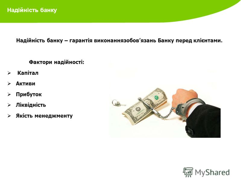 Надійність банку Надійність банку – гарантія виконаннязобовязань Банку перед клієнтами. Фактори надійності: Капітал Активи Прибуток Ліквідність Якість менеджменту