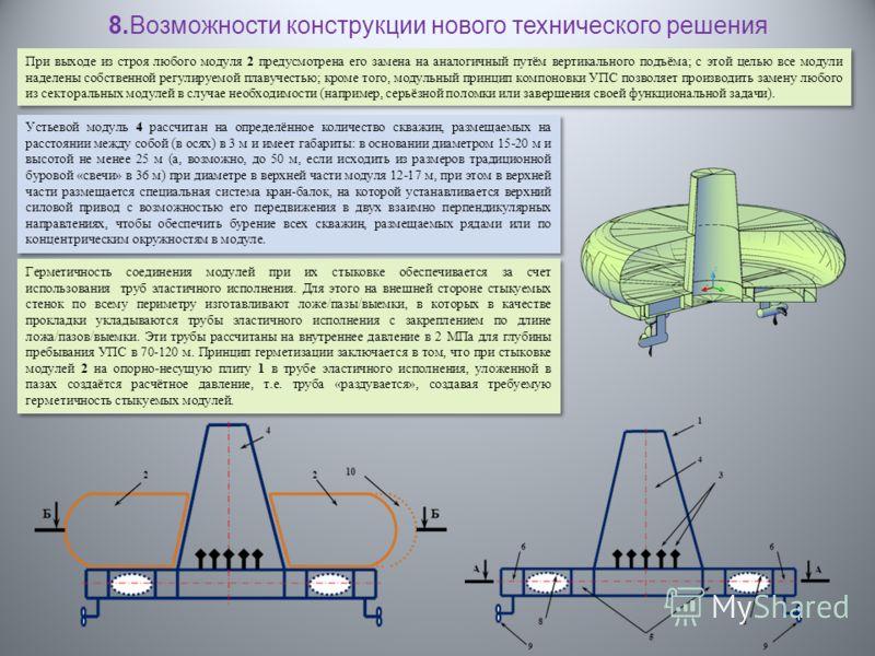 При выходе из строя любого модуля 2 предусмотрена его замена на аналогичный путём вертикального подъёма; с этой целью все модули наделены собственной регулируемой плавучестью; кроме того, модульный принцип компоновки УПС позволяет производить замену