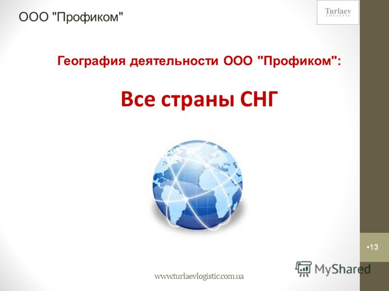www.turlaevlogistic.com.ua 13 ООО Профиком География деятельности ООО Профиком: Все страны СНГ