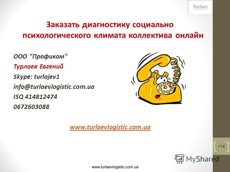 Заказать диагностику социально психологического климата коллектива онлайн ООО Профиком Турлаев Евгений Skype: turlajev1 info@turlaevlogistic.com.ua ISQ 414812474 0672603088 www.turlaevlogistic.com.ua 14