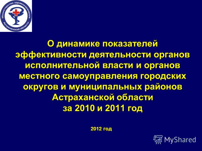 О динамике показателей эффективности деятельности органов исполнительной власти и органов местного самоуправления городских округов и муниципальных районов Астраханской области за 2010 и 2011 год 2012 год