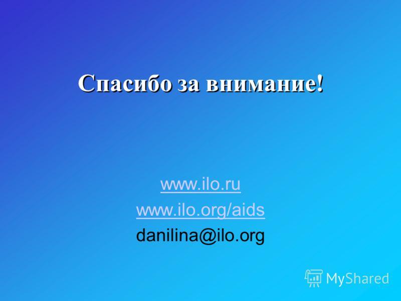 Спасибо за внимание! www.ilo.ru www.ilo.org/aids danilina@ilo.org