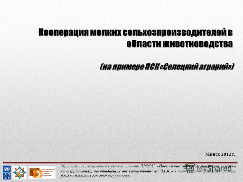 Мероприятие реализуется в рамках проекта ПРООН «Повышение уровня безопасности человека на территориях, пострадавших от катастрофы на ЧАЭС» в партнерстве с Международным фондом развития сельских территорий Минск 2012 г.