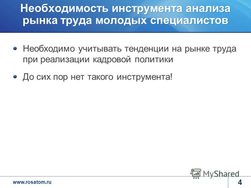 www.rosatom.ru Необходимость инструмента анализа рынка труда молодых специалистов Необходимо учитывать тенденции на рынке труда при реализации кадровой политики До сих пор нет такого инструмента! 4