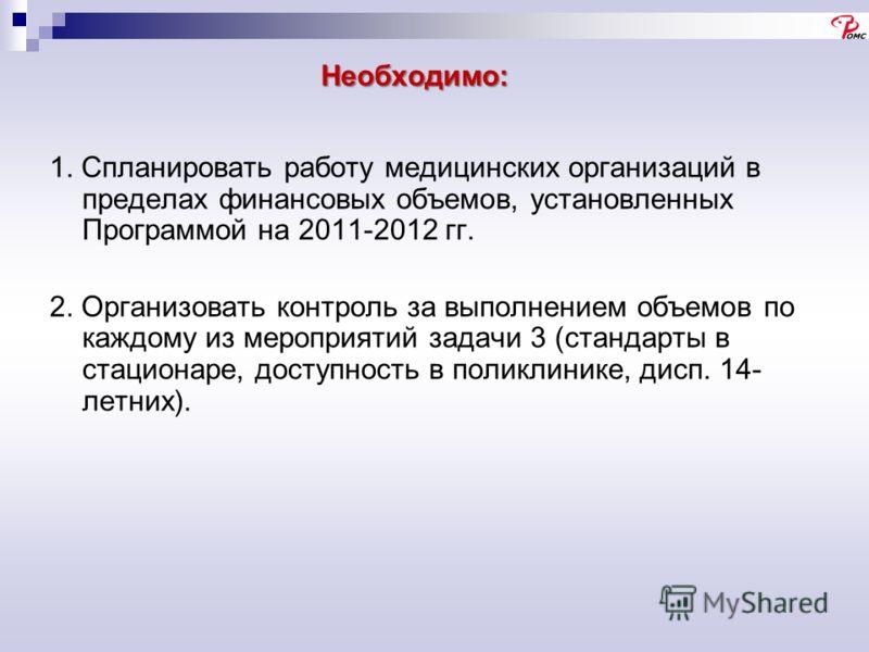 Необходимо: 1. Спланировать работу медицинских организаций в пределах финансовых объемов, установленных Программой на 2011-2012 гг. 2. Организовать контроль за выполнением объемов по каждому из мероприятий задачи 3 (стандарты в стационаре, доступност
