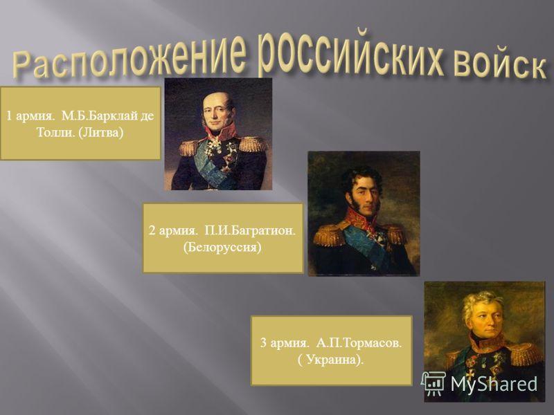1 армия. М.Б.Барклай де Толли. (Литва) 2 армия. П.И.Багратион. (Белоруссия) 3 армия. А.П.Тормасов. ( Украина).