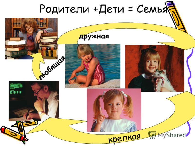 Родители +Дети = Семья дружная крепкая любящая