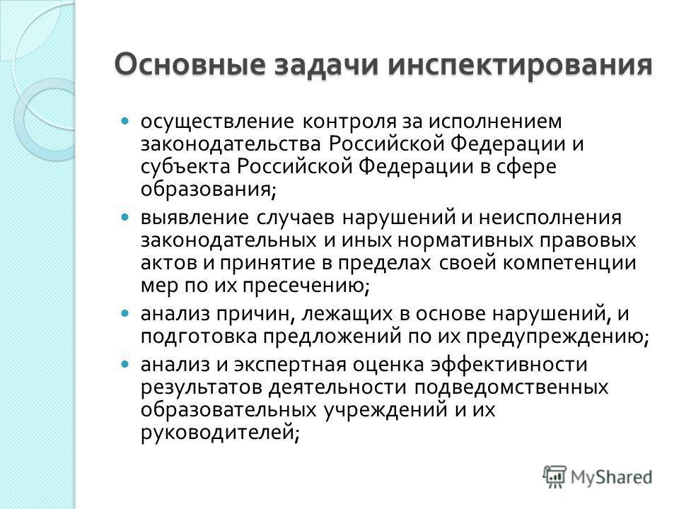 Основные задачи инспектирования осуществление контроля за исполнением законодательства Российской Федерации и субъекта Российской Федерации в сфере образования ; выявление случаев нарушений и неисполнения законодательных и иных нормативных правовых а