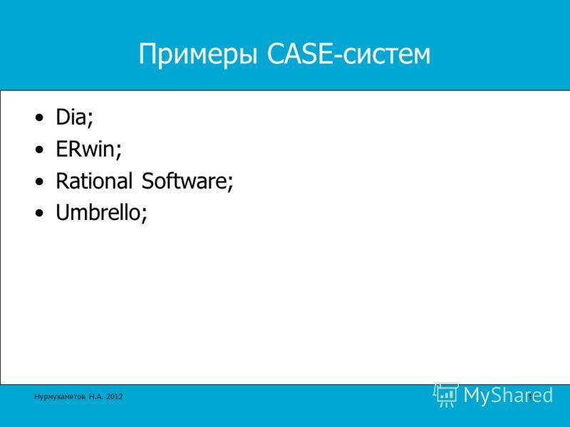 Примеры CASE - систем Dia; ERwin; Rational Software; Umbrello; 11 Нурмухаметов Н.А. 2012