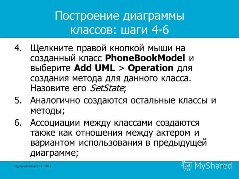 Построение диаграммы классов: шаги 4-6 4.Щелкните правой кнопкой мыши на созданный класс PhoneBookModel и выберите Add UML > Operation для создания метода для данного класса. Назовите его SetState; 5.Аналогично создаются остальные классы и методы; 6.