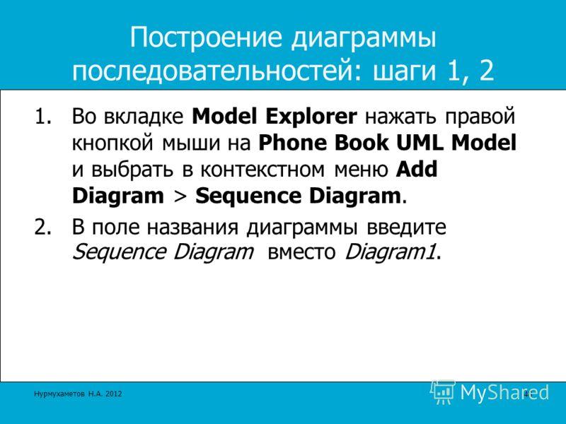 Построение диаграммы последовательностей: шаги 1, 2 1.Во вкладке Model Explorer нажать правой кнопкой мыши на Phone Book UML Model и выбрать в контекстном меню Add Diagram > Sequence Diagram. 2.В поле названия диаграммы введите Sequence Diagram вмест