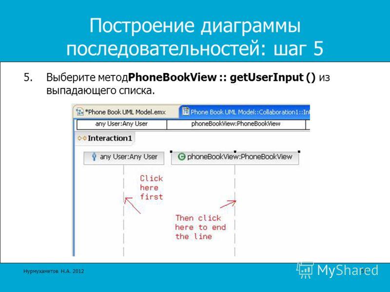 Построение диаграммы последовательностей: шаг 5 5.Выберите методPhoneBookView :: getUserInput () из выпадающего списка. 50Нурмухаметов Н.А. 2012