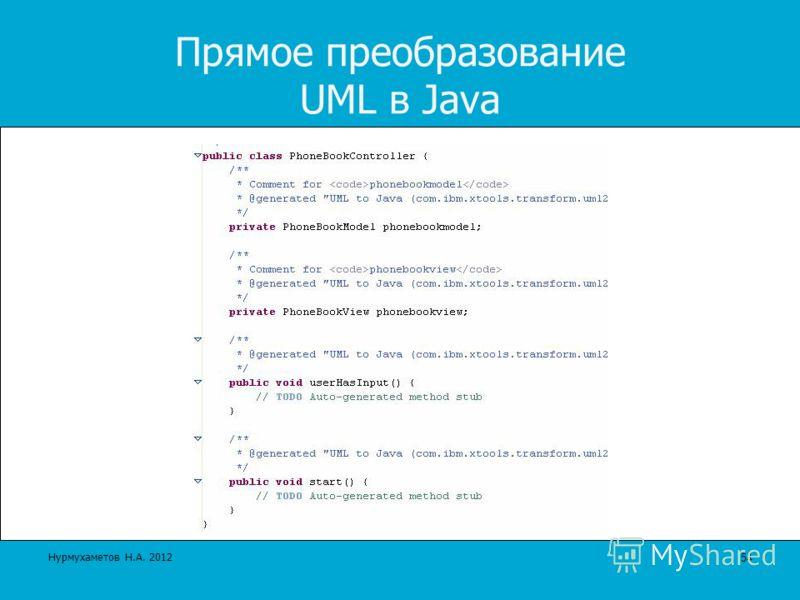 Прямое преобразование UML в Java 54 Нурмухаметов Н.А. 2012