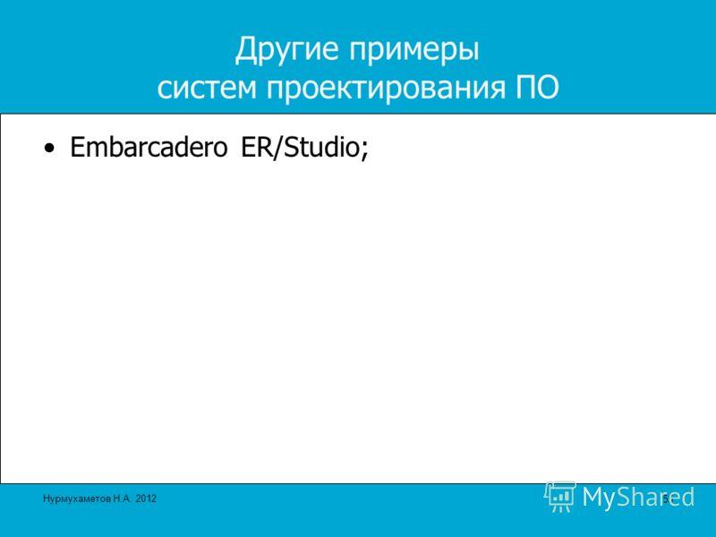 Другие примеры систем проектирования ПО Embarcadero ER/Studio; 55 Нурмухаметов Н.А. 2012