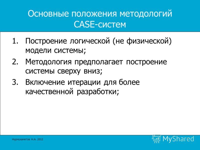 Основные положения методологий CASE-систем 1.Построение логической (не физической) модели системы; 2.Методология предполагает построение системы сверху вниз; 3.Включение итерации для более качественной разработки; 7 Нурмухаметов Н.А. 2012