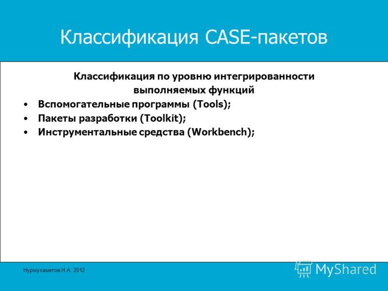 Классификация CASE-пакетов Классификация по уровню интегрированности выполняемых функций Вспомогательные программы (Tools); Пакеты разработки (Toolkit); Инструментальные средства (Workbench); 9 Нурмухаметов Н.А. 2012
