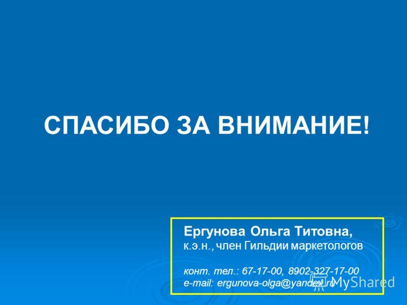 СПАСИБО ЗА ВНИМАНИЕ! Ергунова Ольга Титовна, к.э.н., член Гильдии маркетологов конт. тел.: 67-17-00, 8902-327-17-00 e-mail: ergunova-olga@yandex.ru
