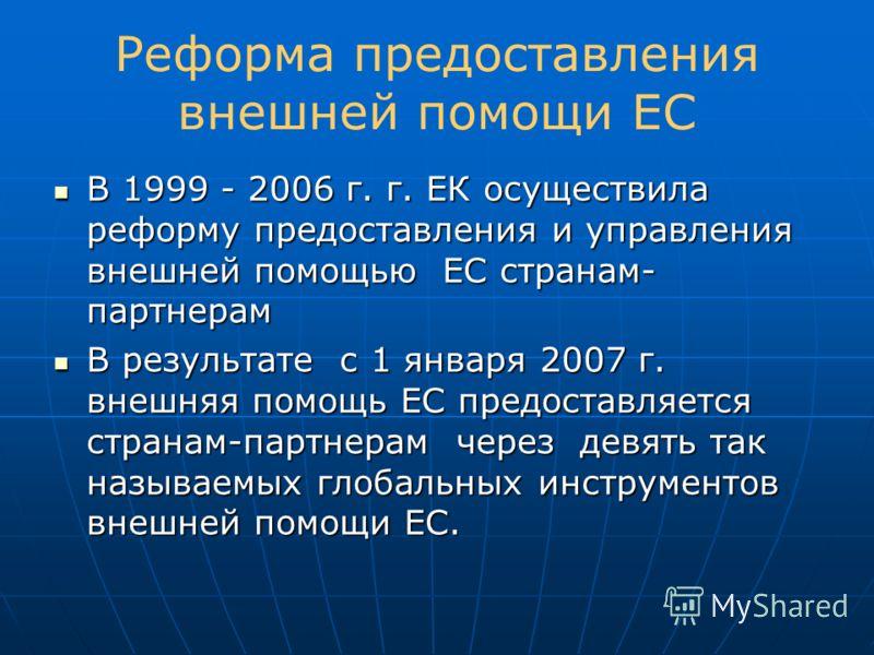 Реформа предоставления внешней помощи ЕС В 1999 - 2006 г. г. ЕК осуществила реформу предоставления и управления внешней помощью ЕС странам- партнерам В 1999 - 2006 г. г. ЕК осуществила реформу предоставления и управления внешней помощью ЕС странам- п