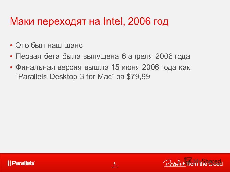 Маки переходят на Intel, 2006 год Это был наш шанс Первая бета была выпущена 6 апреля 2006 года Финальная версия вышла 15 июня 2006 года как Parallels Desktop 3 for Mac за $79,99 5