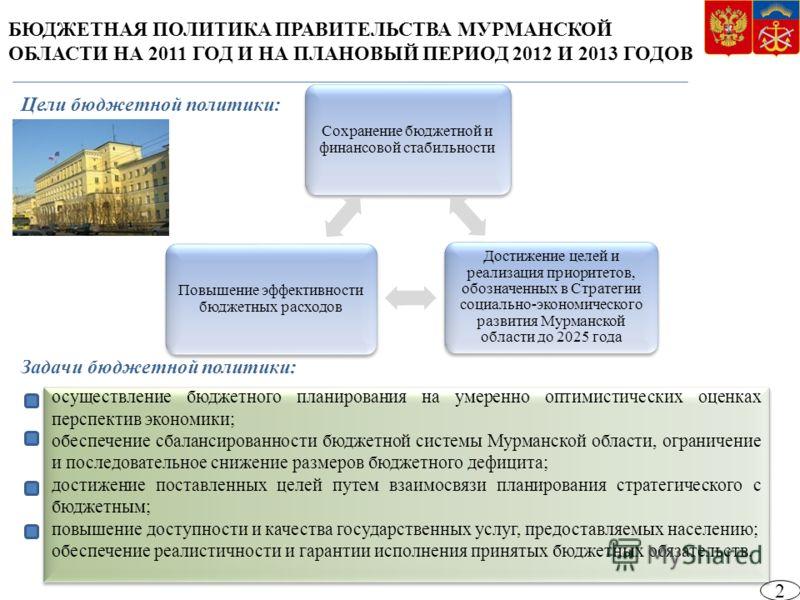БЮДЖЕТНАЯ ПОЛИТИКА ПРАВИТЕЛЬСТВА МУРМАНСКОЙ ОБЛАСТИ НА 2011 ГОД И НА ПЛАНОВЫЙ ПЕРИОД 2012 И 2013 ГОДОВ 2 Сохранение бюджетной и финансовой стабильности Достижение целей и реализация приоритетов, обозначенных в Стратегии социально-экономического разви