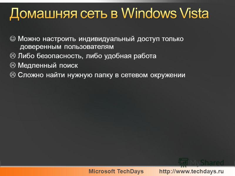 Microsoft TechDayshttp://www.techdays.ru Можно настроить индивидуальный доступ только доверенным пользователям Либо безопасность, либо удобная работа Медленный поиск Сложно найти нужную папку в сетевом окружении