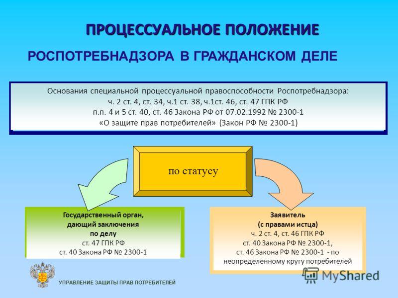 ПРОЦЕССУАЛЬНОЕ ПОЛОЖЕНИЕ Основания специальной процессуальной правоспособности Роспотребнадзора: ч. 2 ст. 4, ст. 34, ч.1 ст. 38, ч.1ст. 46, ст. 47 ГПК РФ п.п. 4 и 5 ст. 40, ст. 46 Закона РФ от 07.02.1992 2300-1 «О защите прав потребителей» (Закон РФ