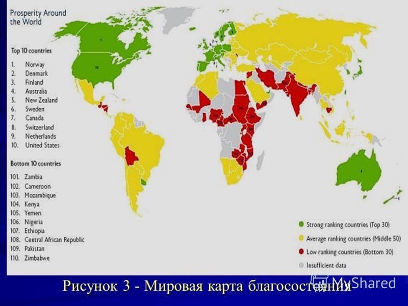 Рисунок 3 - Мировая карта благосостояния