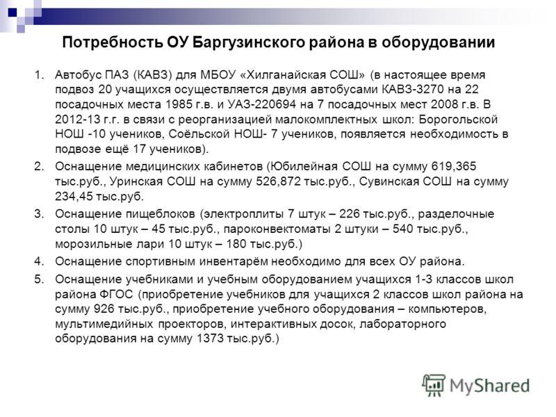 Потребность ОУ Баргузинского района в оборудовании 1. Автобус ПАЗ (КАВЗ) для МБОУ «Хилганайская СОШ» (в настоящее время подвоз 20 учащихся осуществляется двумя автобусами КАВЗ-3270 на 22 посадочных места 1985 г.в. и УАЗ-220694 на 7 посадочных мест 20