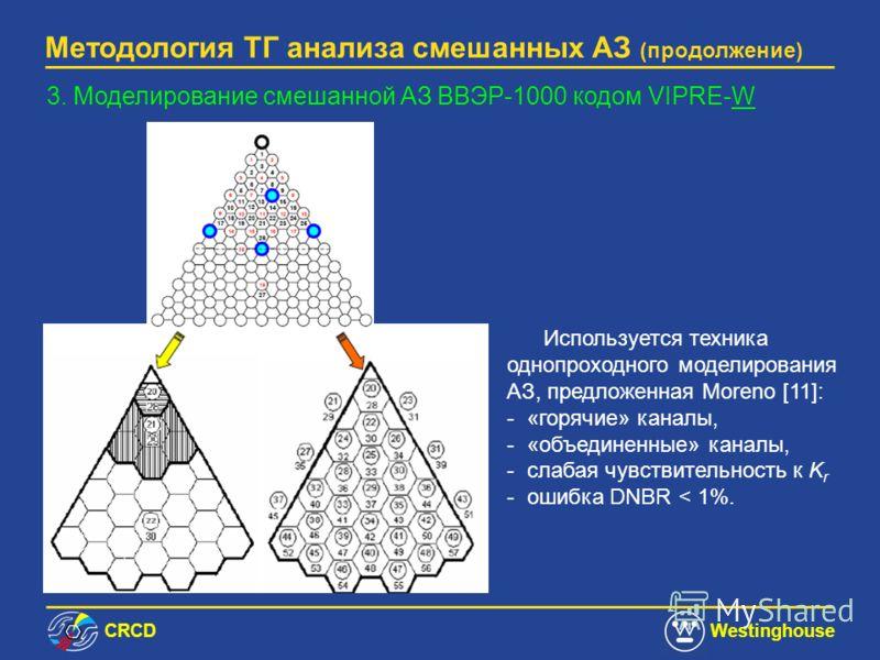 СRCDWestinghouse Методология ТГ анализа смешанных АЗ (продолжение) VIPRE-W включает большое количество DNB корреляций для ТВС содержащих ДР с турбулизаторами потока т/н, промежуточные ДР и обычные ДР. ОКБ (Безруков) DNB корреляция [10] также введена