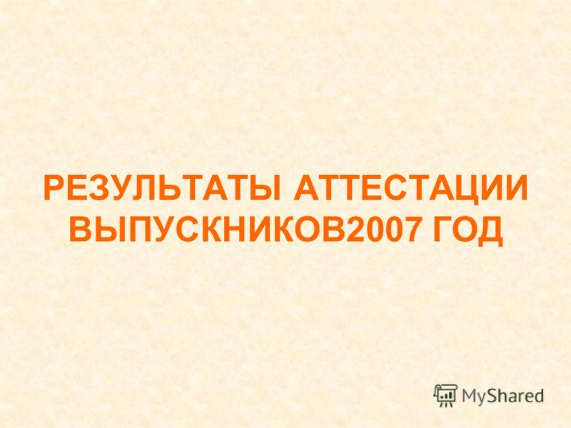 РЕЗУЛЬТАТЫ АТТЕСТАЦИИ ВЫПУСКНИКОВ2007 ГОД