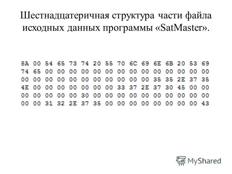 Шестнадцатеричная структура части файла исходных данных программы «SatMaster».