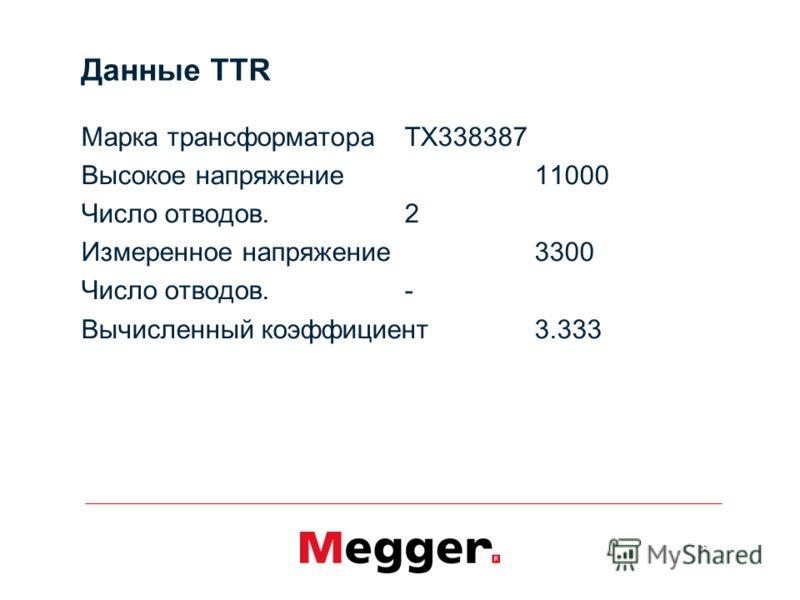 12 Данные TTR Марка трансформатораTX338387 Высокое напряжение11000 Число отводов.2 Измеренное напряжение3300 Число отводов.- Вычисленный коэффициент3.333