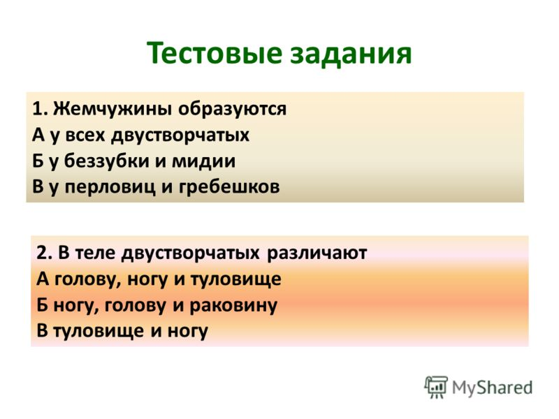 Тестовые задания 1.Жемчужины образуются А у всех двустворчатых Б у беззубки и мидии В у перловиц и гребешков 2. В теле двустворчатых различают А голову, ногу и туловище Б ногу, голову и раковину В туловище и ногу