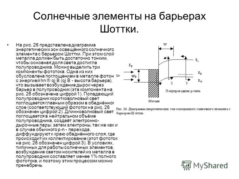 Солнечные элементы на барьерах Шоттки. На рис. 26 представлена диаграмма энергетических зон освещённого солнечного элемента с барьером Шоттки. При этом слой металла должен быть достаточно тонким, чтобы основная доля света достигла полупроводника. Мож