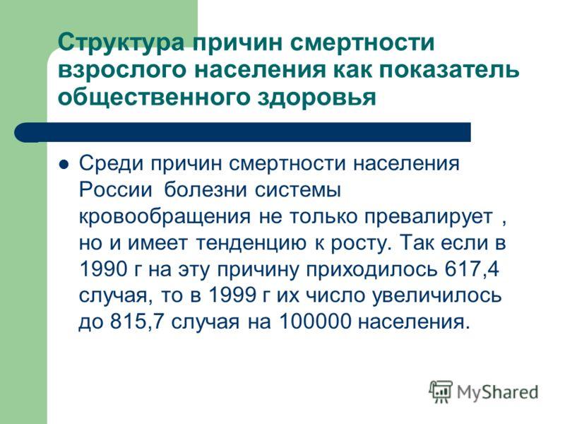 Структура причин смертности взрослого населения как показатель общественного здоровья Среди причин смертности населения России болезни системы кровообращения не только превалирует, но и имеет тенденцию к росту. Так если в 1990 г на эту причину приход