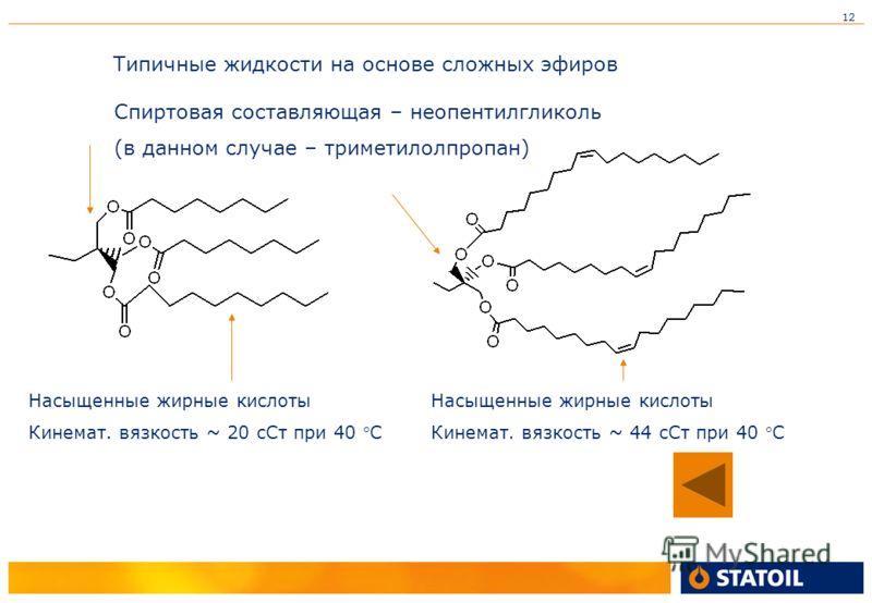 12 Насыщенные жирные кислоты Кинемат. вязкость ~ 20 сСт при 40 CКинемат. вязкость ~ 44 сСт при 40 C Типичные жидкости на основе сложных эфиров Спиртовая составляющая – неопентилгликоль (в данном случае – триметилолпропан)