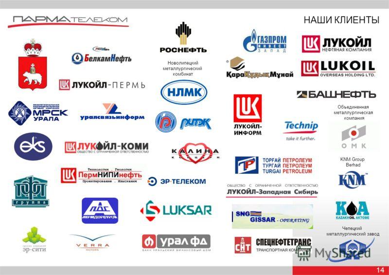 14 НАШИ КЛИЕНТЫ KNM Group Berhad Чепецкий металлургический завод Объединенная металлургическая компания Новолипецкий металлургический комбинат