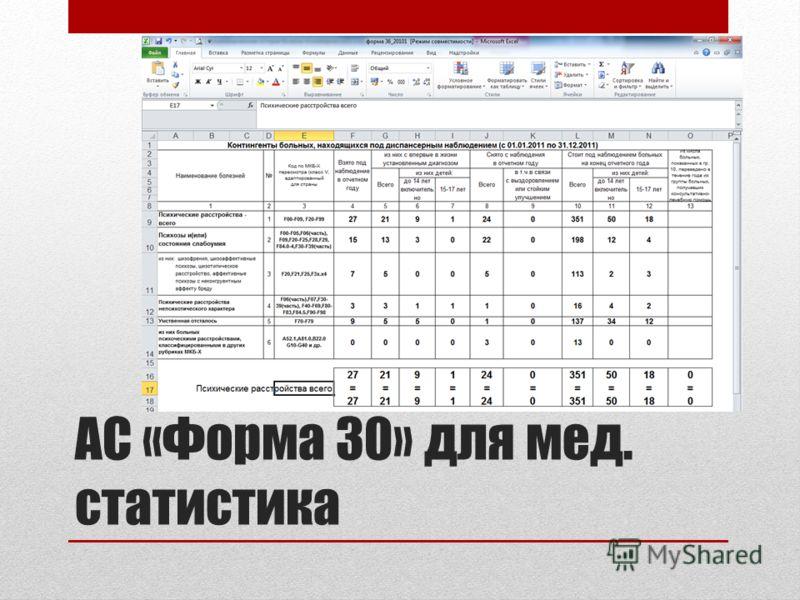 АС «Форма 30» для мед. статистика