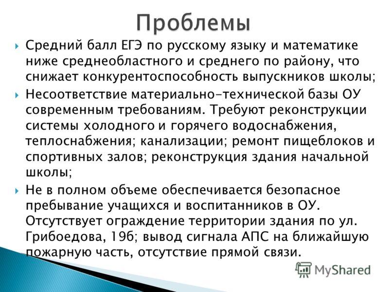 Средний балл ЕГЭ по русскому языку и математике ниже среднеобластного и среднего по району, что снижает конкурентоспособность выпускников школы; Несоответствие материально-технической базы ОУ современным требованиям. Требуют реконструкции системы хол